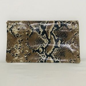 ANN TAYLOR Snake Skin Embossed Leather Clutch